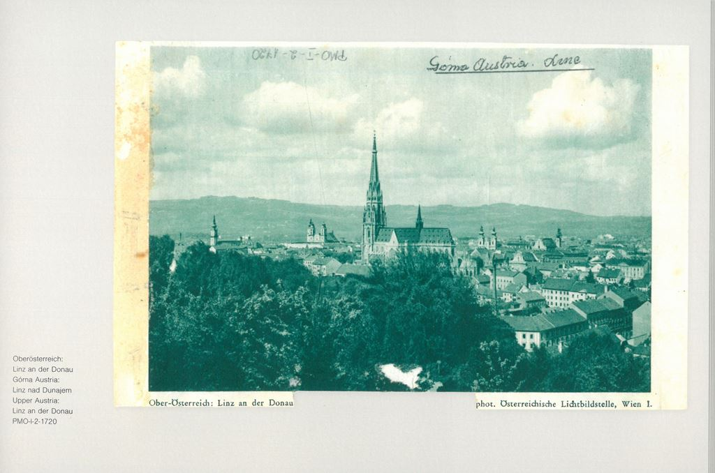 picture postcard with a view of Linz an der Donau